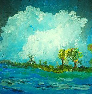 Zwei Bäume am Wasser, Windmühle