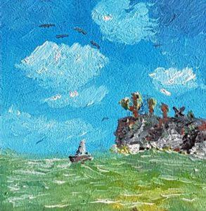 Seegelboot und Steilküste