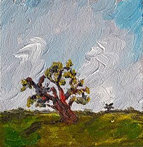 Alter Baum mit Mühle am Horizont